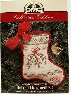 DMC-Counted-Cross-Stitch-Ornament-Kit-Christmas-Holiday-Stocking-New-Vintage