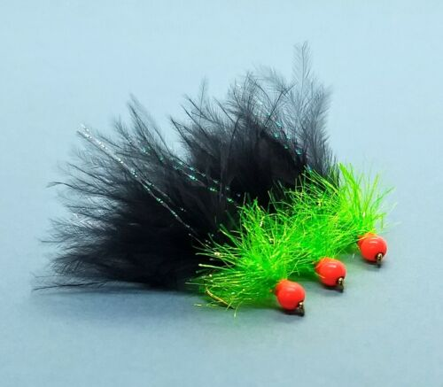 3 x Red Hothead Black Marabou /& Chartreuse UV Trout Fly Flies Lure Lures