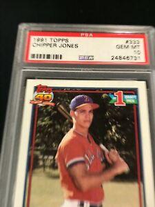 1991 Topps CHIPPER JONES #333 PSA 10 Atlanta Braves RC Rookie ~SC3-731