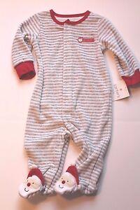 7c389efd8479 Carter s Christmas Santa Claus Sleeper Pajamas Infant Baby Boy 3 ...