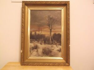 CR-Antique-19th-century-Oil-on-Canvas-Woods-Scene-Pfleger-walking-with-his-Dog