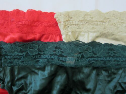 Details about  /VINTAGE Victoria Secret Signature SATIN LACE Brief PANTY L CAN FI XL SILKY Sissy