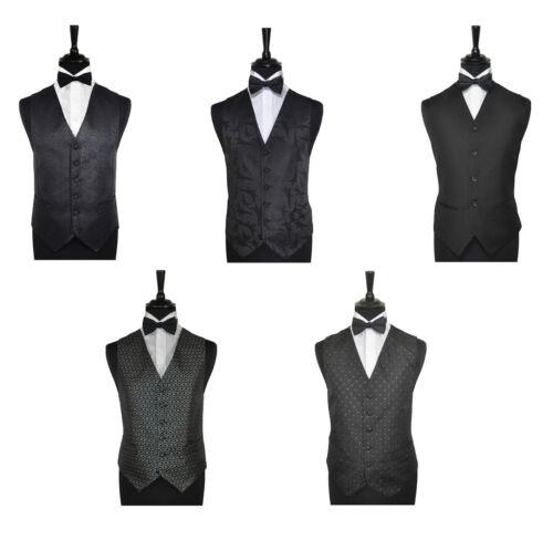 "60/"" Men/'s Special Occasion Black Wedding Evening Waistcoat /& Bow Tie Size 34/"""