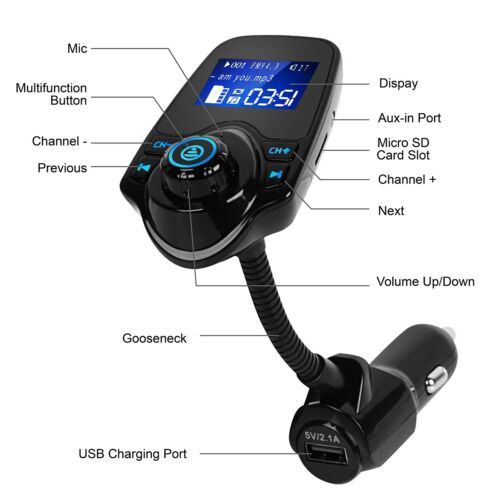 Wireless Car Kit FM Transmitter Wireless Radio Adapter USB Charger for Phone US