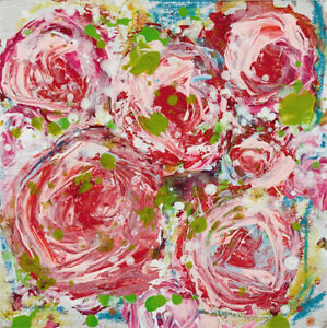 Red Roses Floral Mini Painting Original Impasto Knife Art Katie Jeanne Wood