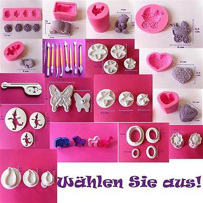 SET s Ausstecher Fondant Tortendeko Form Prägerolle Backmatte Auswerfer Mould 2