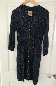 MANTARAY-LADIES-NAVY-BLUE-PATTERNED-SHIRT-DRESS-SIZE-10-WORN-ONCE