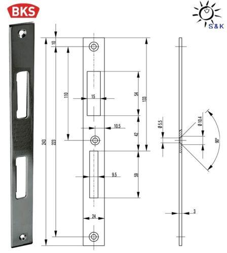 BKS Schließblech Stahl silber Breite 24 x Länge 243 mm DIN links//rechts S4910023