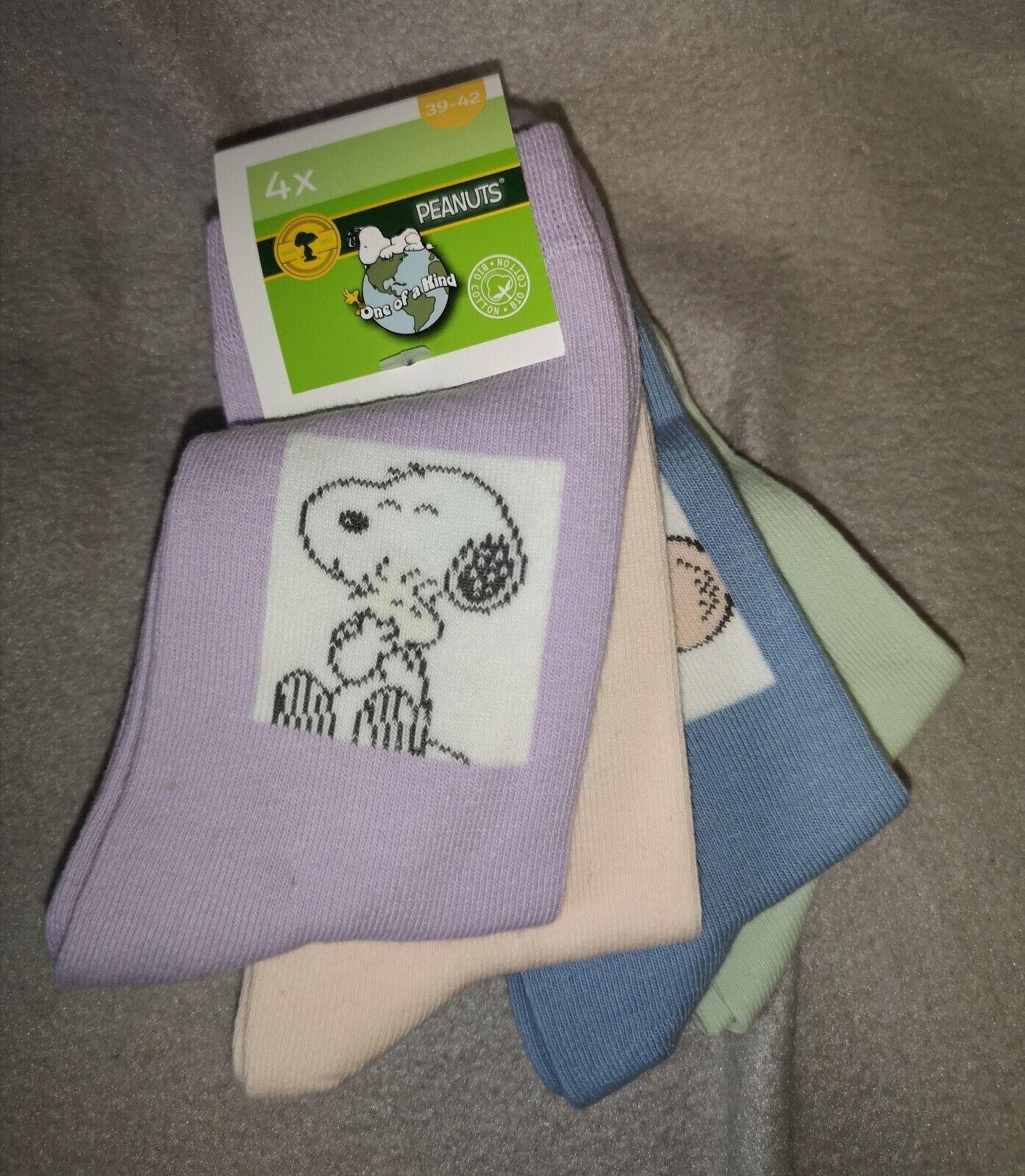 4 Paar Peanuts SNOOPY Damen Socken Strümpfe 39-42 NEU mit ETIKETT Pastellfarben