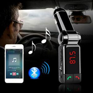 Kit-Mains-Libres-Bluetooth-pour-Voiture-4-en-1-avec-Transmetteur-de-Musique-Neuf