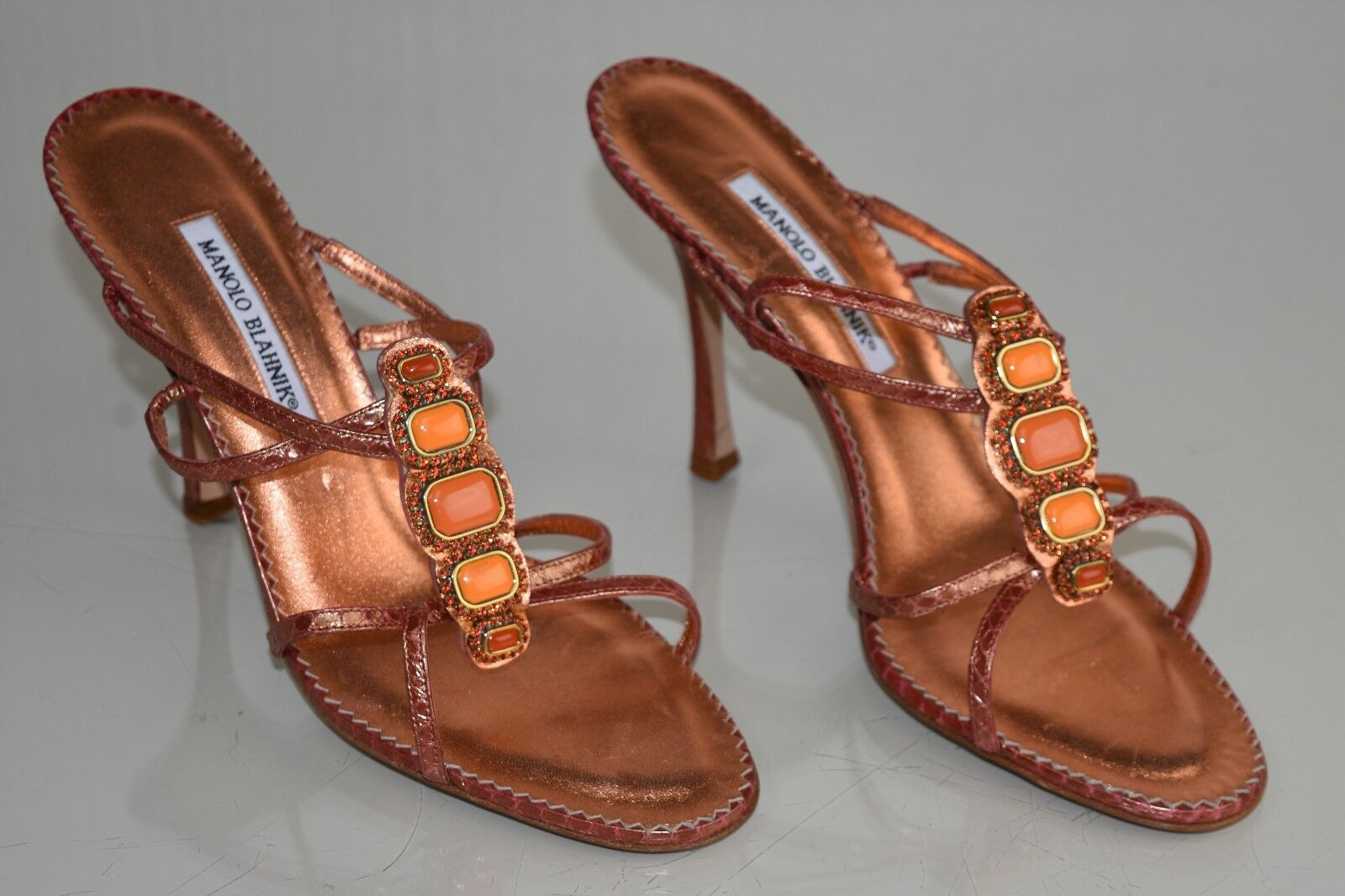 1190 NEW NEW NEW MANOLO BLAHNIK SANDALS CORAL SNAKE JEWELED CRYSTALS STRAPPY chaussures 41.5 ab908e