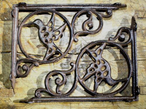 6 Cast Iron Antique Style HUMMINGBIRD Brackets Garden Braces Shelf Bracket