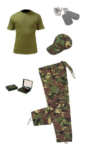 Enfants Paquet 4 Camouflage Armée Déguisement Soldat Chemise Pantalon Casquette