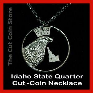 Idaho-25-ID-Quarter-Cut-Coin-Necklace-Gem-State-Peregrine-Falcon-Esto-Perpetua