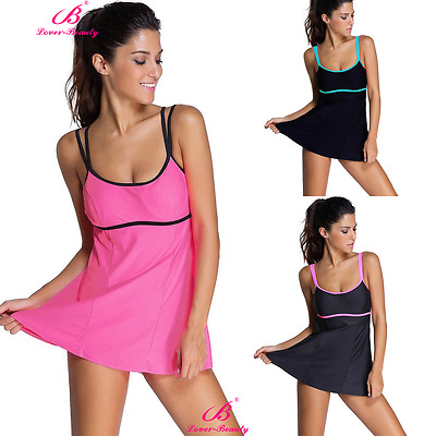 Womens Push-up One-piece Swim Dress Swimsuit Bikini Swimwear Plus Size Tankini