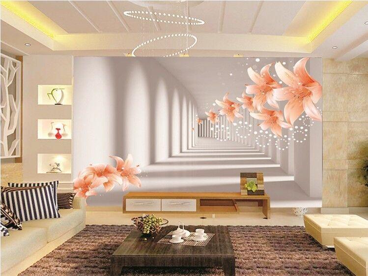 3D Langer Flur, Blaumen 245 Fototapeten Wandbild Fototapete BildTapete Familie DE