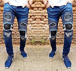 Otantik-da-Uomo-Designer-Jeans-rovinati-pantaloni-stretch-skinny-motociclista-Clubwear-Nuovo