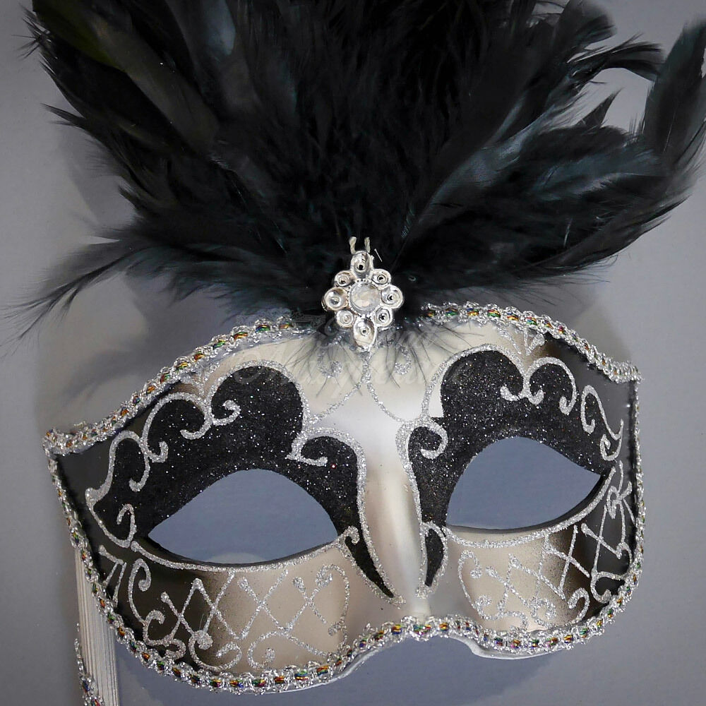Handheld Stick Venetian Masquerade Mask for Women M6150 Black