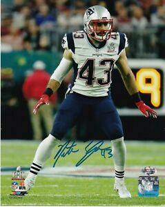 100% De Qualité Nate Ebner New England Patriots Action Signé 8x10