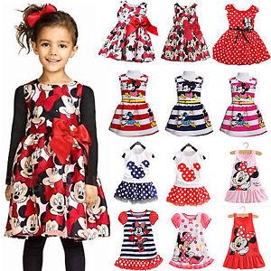 Verano-Ninas-Minnie-Mouse-Fiesta-Vestido-Princesa-Infantil-Ninos-Cartoon-falda