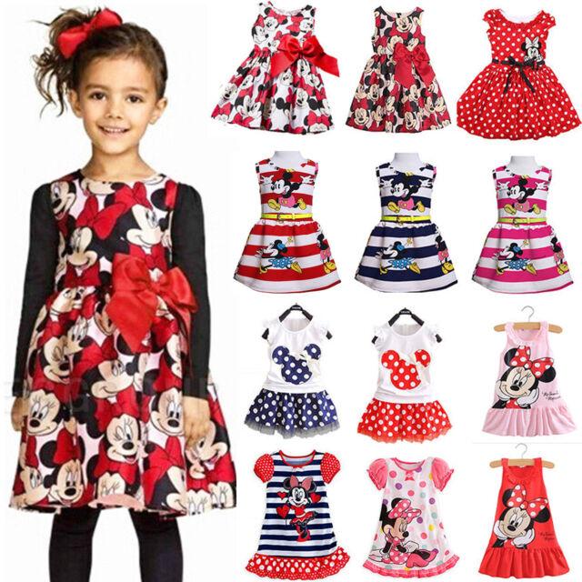 Verano Niñas Minnie Mouse Fiesta Vestido Princesa Infantil Niños Cartoon falda