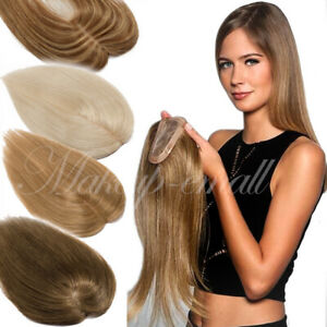 Clip-In-Human-Hair-Topper-Silk-Extensions-Indian-Remy-Brown-Mix-Blonde-Mono-US