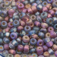 Vintage Czech Seed Beads E Beads 6/0 Gray & Purple Mix 15g 10106048