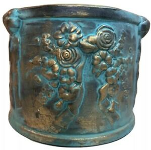 Glazed Terra Cotta Pottery Round Planter Floral and Ribbons Motif Blue /  Gold