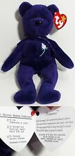 RARE INDONESIA! 1st EDITION PVC ~ PRINCESS (Diana) Bear Ty Beanie Baby ~ MINT!!!