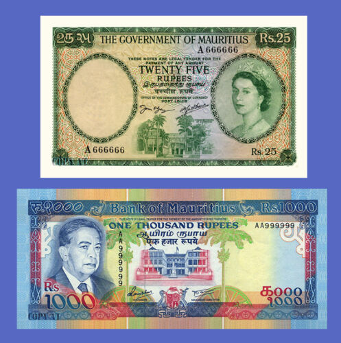 Reproductions MAURITIUS Lots of 2 notes 25..1000 Rupees