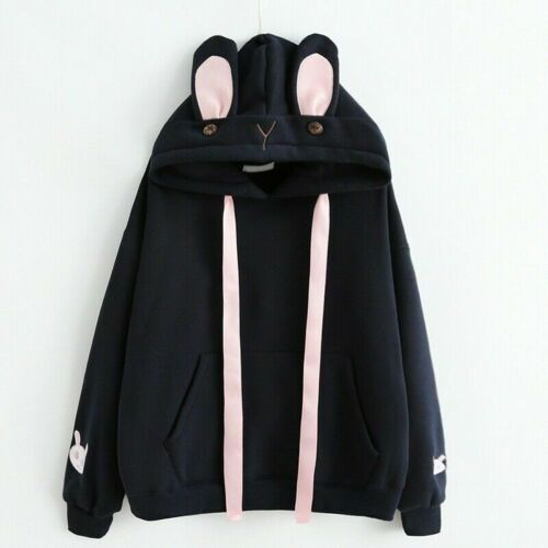 Women Girl Hoodie Pullover Sweatshirt Sweet Cute Hooded Bunny Ear Top Kawaii