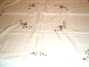 Vintage-Tablecloth-34-034-Square-Beige-and-Roses