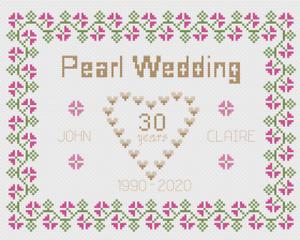 Diamond anniversario di matrimonio campionatore-PUNTO CROCE KIT su 14 Aida Grafico di colore