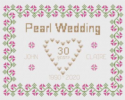 Pearl Wedding Anniversary Sampler Cross Stitch Kit Florashell