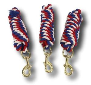 D-A-Brand-Lot-of-3-8-039-Patriotic-Cotton-Lead-Ropes-w-Swivel-Snaps-Horse-Tack