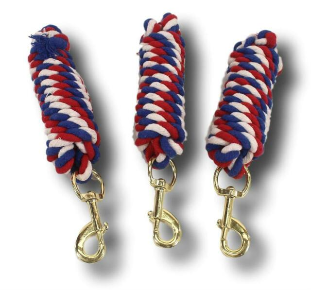 D.A. Brand Lot of 3 8' Patriotic Cotton Lead Ropes w/ Swivel Snaps Horse Tack