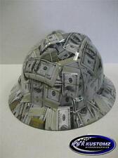 Money Pattern Full Brim NEW Custom MSA V GARD Hard Hat With Fas Trac Ratchet
