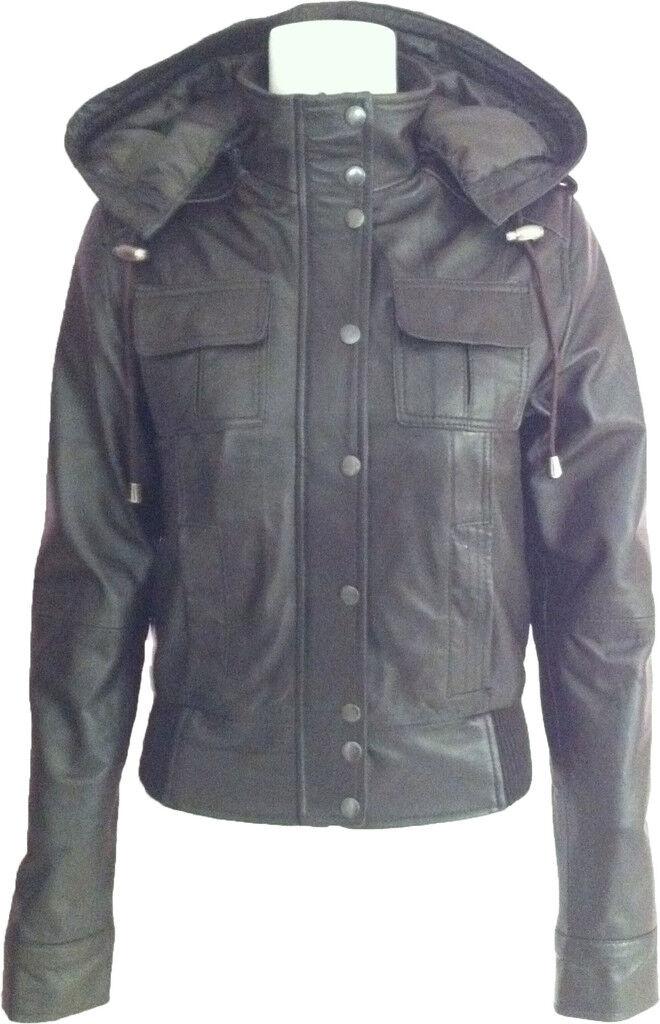 UNICORN damen braun Hooded Leather bomber jacket 'Größe 10'  J9