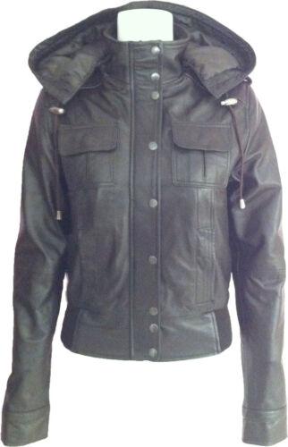 Womens j9 Brown 'size 10' Unicorn Læder Bomber Hooded Jacket TxCwqfd7