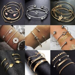 Womens-Boho-Stainless-Steel-Cuff-Open-Bracelet-Bangle-Gold-Chain-Jewelry-Sets