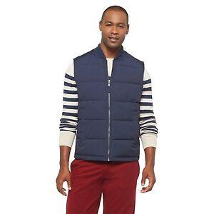 Merona-Men-039-s-Sleeveless-Puffer-Jacket-Vest-Coat-In-The-Navy-Blue-Size-Medium