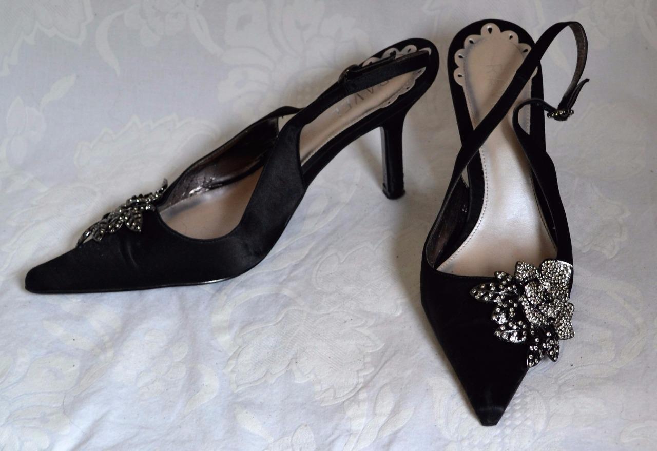 RAVEL Black Sz / EU40 Gorgeous Black RAVEL Satin Stiletto Heel Crystal Rose Cruise*VGC d4cd70