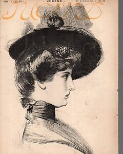 1899-Jugend-May-27-German-Art-Nouveau-Cover-Woman-in-hat