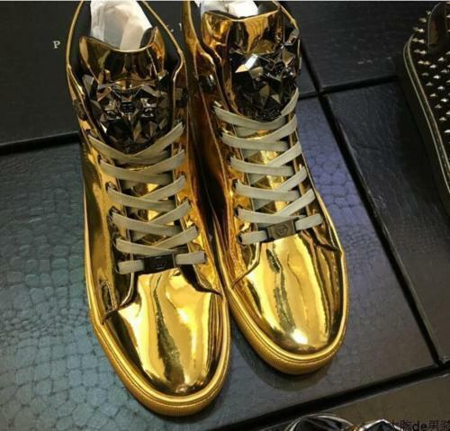 Hot uomo Patent Leather Metal decoration High Top Lace Up Sneakers Casual  Shoes Scarpe classiche da uomo