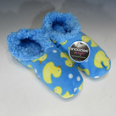 L 9-10 Snoozies Blue Sailboats Nautical Beach Lake Soft Slippers Shoes NEW