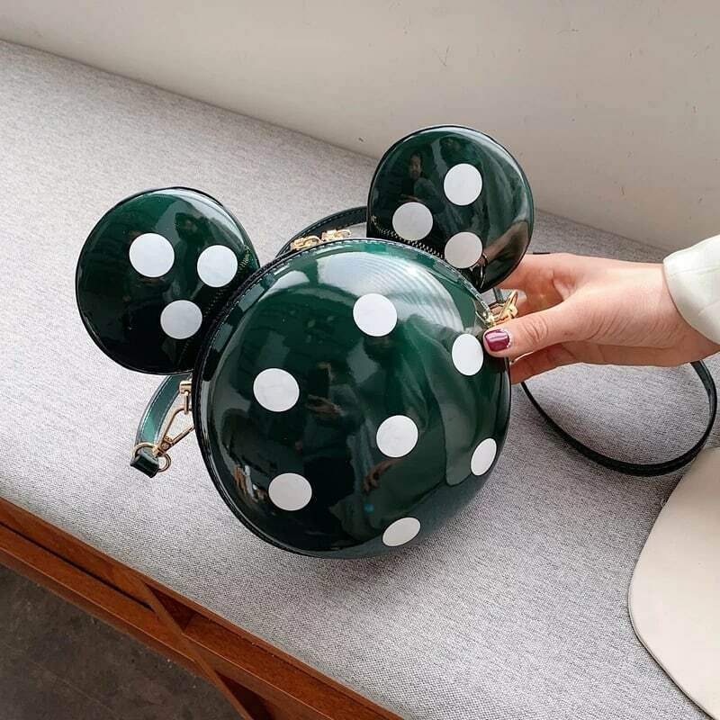 Lovely Mickey Mouse Shape Solid Color Round Crossbody Shoulder Bag Funky Purse