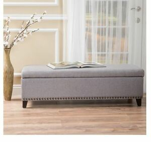 Details about Storage Bench with Cushion End Of Bed King Upholstered  Bedroom Hallway Foyer New