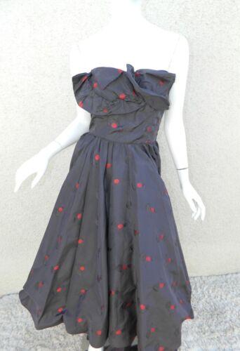 Rare CEIL CHAPMAN Dress Gown Blue Red Cherries Vin
