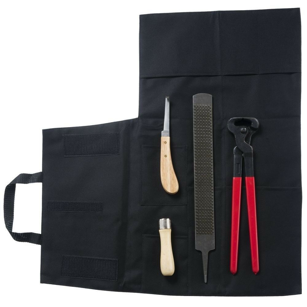Tough-1 Four Piece Hoof Trim Kit with Rasp, Handle, Knife, and Nippers