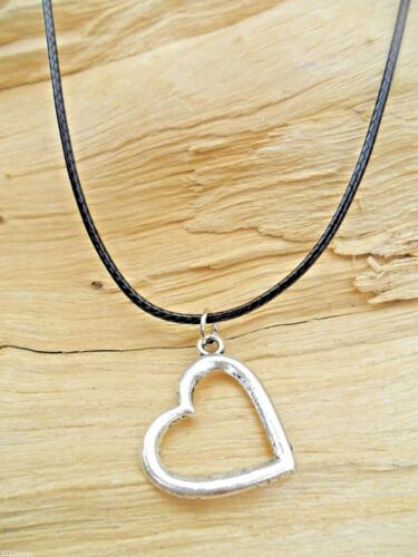 Love Heart Silver Effect Cutout Charm Pendant /& Black Waxed Cord Necklace NEW